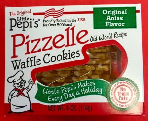 The Original Little Pepi's Pizzelle Anise Flavored Waffle Cookies.